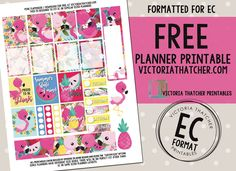 Free Printable Pink Flamingo Planner Stickers from Victoria Thatcher