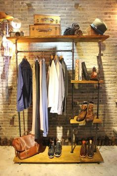 loft clothes American wood to do the old vintage clothing store display racks , wrought iron floor clothing rack clothing store shelf Special-in Dining Tables from Furniture on Loft Clothing Store, Clothing Store Displays, Vintage Clothing Stores, Clothing Racks, Vintage Clothing Display, Vintage Display, Clothing Organization, Male Clothing, Wood