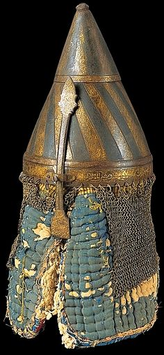 Sudanese bronze helmet with original quilted lining, British Museum, London England.
