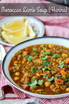 Moroccan Lamb, Chickpea, and Lentil Soup (Harira) - dana - African Food Tagine Recipes, Lentil Recipes, Lamb Recipes, Soup Recipes, Vegetarian Recipes, Chickpea Recipes, Diet Recipes, Lamb Stew, Lentil Stew