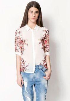European Style Retro Floral Print T-shirt