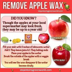 Remove wax from apples. Vinegar water didn't work for me so might try this ... I gave up. Organic apples from now on.