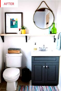 This budget friendly bathroom makeover is a true transformation for under 100 The space went from boring and beige to colorful bright and practical The shelf above the to. Cheap Bathroom Vanities, Cheap Bathrooms, Bathroom Shelves, Bathroom Storage, Bathroom Ideas, Bathroom Renovations, Bathroom Cabinets, Bathroom Wall, Bathroom Inspo