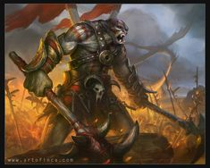 Orc Warlord by Tsabo6 ork fighter barbarian monster beast creature animal…