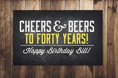 ANY AGE Cheers and Beers banner beer 21st 30th 40th by LyonsPrints