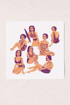 Slide View: 1: Leah Reena Goren Bathers Art Print