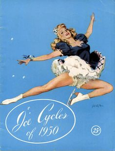 ice skating beauties | Petti Pictures--Vintage ice skater doing a stag jump