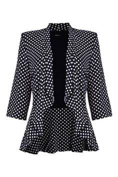 Roman Originals - Womens 3/4 Sleeve Jersey Peplum Jacket With Polka Dot Print - Ladies - Navy / White Size 20 Roman Originals, http://www.amazon.co.uk/dp/B00C2AIQ20/ref=cm_sw_r_pi_dp_uV9yrb0WS2XSJ