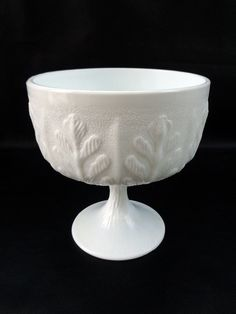 Vintage white Milk glass compote bowl by FTD, wedding decor, 70s, by LogicFreeVintage on Etsy