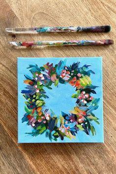 Simple Canvas Paintings, Happy Paintings, Mini Paintings, Cool Paintings, Acrylic Painting Tutorials, Acrylic Painting Canvas, Diy Painting, Acrylic Painting Inspiration, Acrylic Painting Flowers