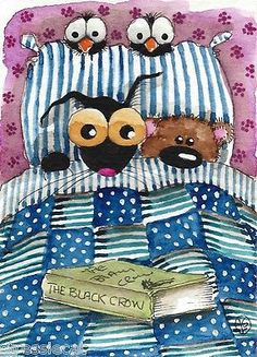ACEO Original Watercolor Folk Art Painting Black Cat Teddy Bear Crow Bed Book | eBay