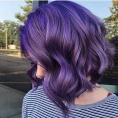 ers, 620 ing, Posts - See photos and videos from Pulp Riot Hair Color (pulpriothair) Dark Purple Hair, Hair Color Purple, Hair Dye Colors, Cool Hair Color, Short Purple Hair, Purple Bob, Short Dyed Hair, Neon Purple, Hair Lights