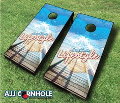 This top of the line Beach Bum Lifestyle Cornhole Set is sure to bring life to any party! Order yours TODAY at www.ajjcornhole.com