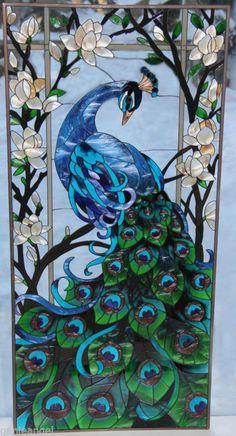 SPECTACULAR PEACOCK & MAGNOLIAS LOTUS FLOWER 17x37 ART GLASS WINDOW WALL PANEL