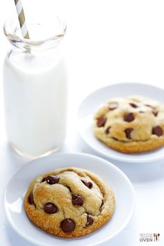 This easy recipe makes the BEST thick, soft and chewy chocolate chip cookies! | gimmesomeoven.com