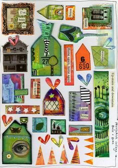 House & Home Collage Sheet by Phizzychick!, via Flickr  Find Charm and Pendant bases, Altered Art supplies at http://www.ecrafty.com/c-34-altered-art-supplies.aspx