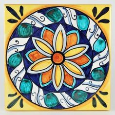"""This ceramic wall and floor tile is entirely hand painted by Francesca Niccacci, an internationally renowned artist from Deruta. <br />Niccacci's handmade tiles are available in different sizes and shapes to fulfill any and all conditions or constraints. <a href=""""http://www.thatsarte.com/contacts"""">Contact us</a> with your ideas and projects: special orders are ..."""