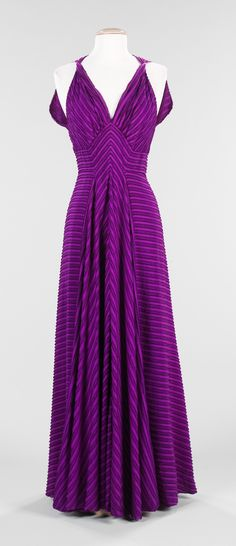 """""""Le Gaulois"""" Evening Dress, Elizabeth Hawes (American, 1903–1971): ca. 1938, American, silk. """"...Hawes draped fabrics on the body and creatively pieced together wearable garments that were also beautiful works of art. Hawes' philosophy toward fashion also shaped her aesthetic. She firmly believed there was a difference between fashion and style. Style, she declared, 'is dressing to fit your own self – it lasts.'..."""""""