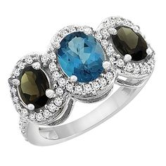 14K White Gold Natural London Blue Topaz and Smoky Topaz 3-Stone Ring Oval Diamond Accent, sizes 5 - 10 >>> Remarkable product available now. : Promise Rings Jewelry