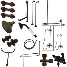 Kingston Brass Vintage Wall Mount Down Spout Clawfoot Tub and Shower Package with Metal Lever Handles, Oil Rubbed Bronze Vintage Tub, Vintage Walls, Clawfoot Tub Shower, Bathtub, Shower Rose, Faucet Handles, Kingston Brass, Shower Enclosure, Oil Rubbed Bronze