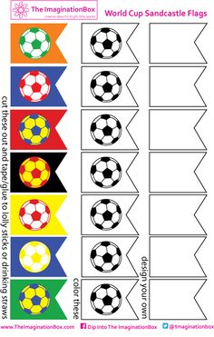 World Cup inspired sandcastle flags for the beach or the backyard. Print and make your own