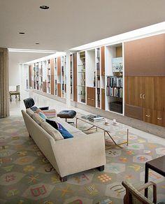 Eero Saarinen's Miller House, Columbus, Indiana.  Interiors by Alexander Girard.  Love the rug.
