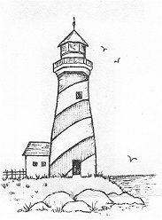 Seaside Lighthouse Rubber Stamp