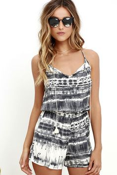 We understand why you light up when you wear the Bright Eyed Grey Tie-Dye Romper! This cute romper has a high neckline with thin straps, a tying, tasseled front, and a mother-of-pearl back button above a keyhole. A grey and cream tie-dye print runs from the sleeveless bodice, through the elastic waist, to the loose shorts.