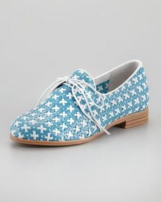 Shop 19 Polished Oxfords That Scream Summer Fun  Jeffrey Campbell's blut and white lace oxfords