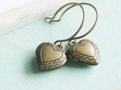 Locket Earrings  Brass Hearts by linkeldesigns on Etsy, $10.00
