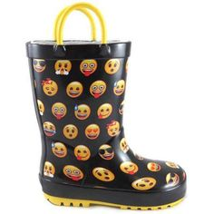 Emoji Boy's Rainboot, Size: 11/12, Black