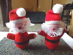 """Vintage Homemade Set Of 2 Crocheted Standable Santa Clause Dolls """" AWESOME SET """" #vintage #collectibles #home"""