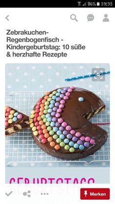 Rezept Zebrakuchen-Regenbogenfisch (Cake Recipes For Decorating) Rainbow Fish, Cake Rainbow, Rainbow Zebra, Rainbow Baby, Fish Cake Birthday, Food Humor, Cute Food, Cakes And More, Creative Food