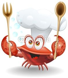 Granchio Chef Cartoon-Crab Cook Cartoon-Vector - Buy this stock vector and explore similar vectors at Adobe Stock Crab Cartoon, King Cartoon, Food Cartoon, Recipe Book Covers, Seafood Shop, Leather Working Patterns, Cookbook Holder, Cooking Photos, Recipe Scrapbook