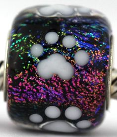 PAW PRINTS fits Pandora and Trollbeads bracelets artisan murano glass charm bead. Cored with sterling silver. Made by glass artist Mandy Ramsdell