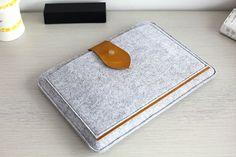 """Yellow Leather Flap Felt Macbook 15 Sleeve , Felt Macbook 15 Retina Case , Felt Macbook 15"""" , Felt Macbook 15 Retina #213"""