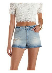 High-Waisted Cut-Off Denim Shorts