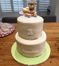 Simple 1st Teddy Picnic Birthday Cake