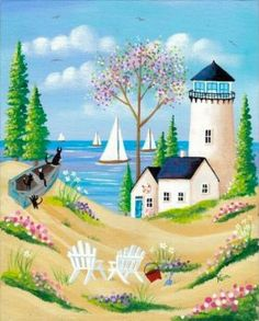 Cute cottage, on the beach black cats on the boat (143 pieces)