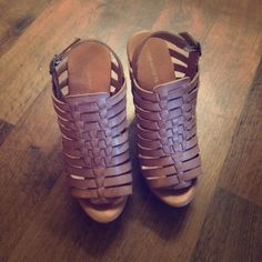 Cute Tan wedges Tan strap wedges with wood heel Mossimo Supply Co. Shoes Wedges