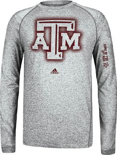 Texas A Aggies Sidelines Elude Heather Grey Climalite Long Sleeve Shirt by Adidas
