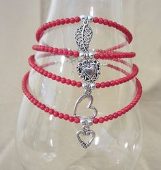 Beaded Charm Anklet Genuine Red Coral Beads w/Silver Charm, Red Bead Ankle Bracelet Silver Heart Charm Plus Size Anklet Handmade Jewelry Diy Jewelry, Beaded Jewelry, Women Jewelry, Jewelry Design, Jewelry Making, Unique Jewelry, Handmade Jewelry, Jewellery, Ankle Jewelry