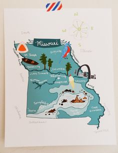 Missouri illustrated map by helloniccoco on Etsy Travel Maps, Travel Posters, T Shirt Fundraiser, Country Maps, Travel Illustration, City Maps, Map Design, State Map, Cartography