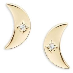 T&C Theodora & Callum Moon and Star Stud Earrings ($18) ❤ liked on Polyvore featuring jewelry, earrings, gold, star earrings, gold tone earrings, studded jewelry, post earrings and stud earrings