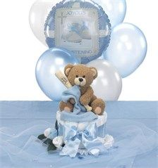 Baseball Baptism Centerpiece Blankie Bear Diaper Cake Topper & Table Decorations Package - $44.00