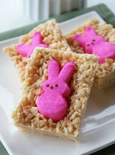 Easter Inspired Rice Krispy Treats with Peeps