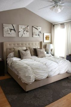 I just love this look .. maybe down the road. neutrals master bedroom Pictures are from ikea and simple white curtains