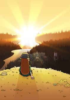 the Sunset in Gravity Falls Gravity Falls Dipper, Gravity Falls Art, Adventure Time Anime, Gravity Falls Personajes, Desenhos Gravity Falls, Gavity Falls, Mabel Pines, Over The Garden Wall, Reverse Falls