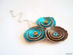 Leather Necklace Turquoise Blue and Chocolate Brown Flowers.