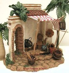 Introduced in 1996 - Village Nativity Building. This is One of Fontanini's Nativity Accessories from Roman Inc Made to Enhance and Add to the Realism of Any Nativity Display. Christmas Crib Ideas, Christmas Time, Christmas Crafts, Cool Tree Houses, Fairy Houses, Doll Houses, Miniature Fairy Gardens, Miniature Houses, Fontanini Nativity